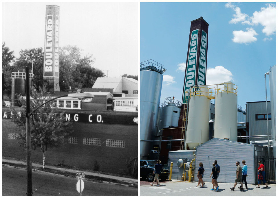 Photo - This combination photo shows, left, an undated photo of Boulevard Brewing shortly after its opening in 1989, in Kansas City, Mo., and right, a tour group visiting the brewery on July 1, 2013. Boulevard Brewing opened in the Westside neighborhood of Kansas City, creating a brewery out of a building that had been a railroad's laundry. While it probably would have been cheaper for the company to be in the suburbs, the brewery's managers are