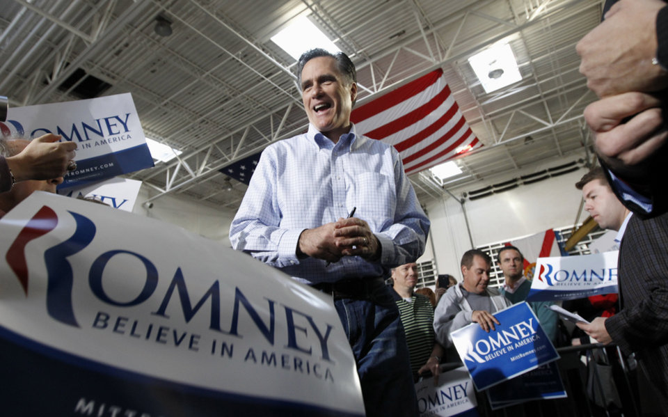 Photo -   Republican presidential candidate, former Massachusetts Gov. Mitt Romney campaigns at Ring Power Lift Trucks in Jacksonville, Fla., Monday, Jan. 30, 2012. (AP Photo/Charles Dharapak)