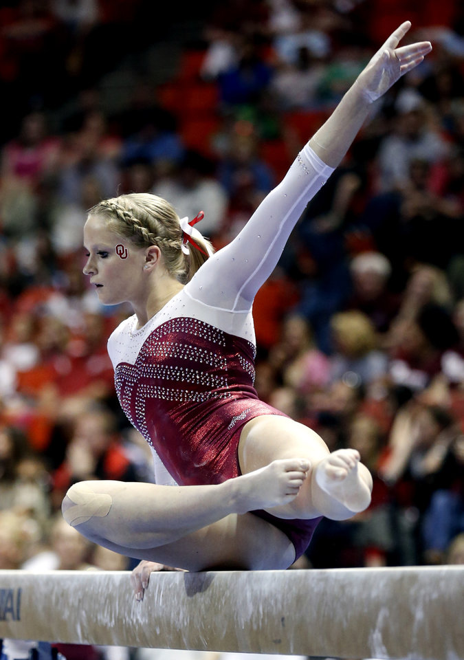 Rebecca Clark competes in the balance beam as the University of Oklahoma Sooners (OU) compete at the NCAA, Women's Gymnastics Regional at The Lloyd Noble Center on Saturday, April 6, 2013  in Norman, Okla. Photo by Steve Sisney, The Oklahoman