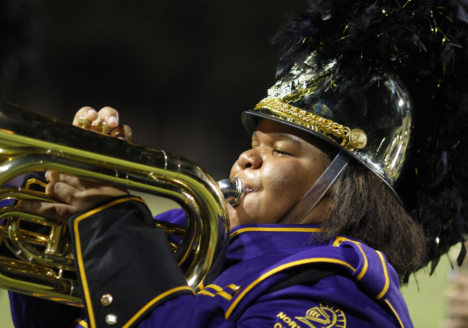 A NWC band member performs at halftime  at the Northwest Classen vs. Western Heights high school football game at Taft Stadium Thursday, September 20, 2012. Photo by Doug Hoke, The Oklahoman