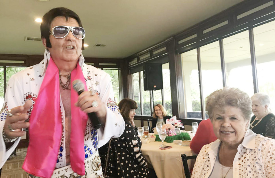 Photo - Elvis impersonator and Ruth Simpson. PHOTO PROVIDED
