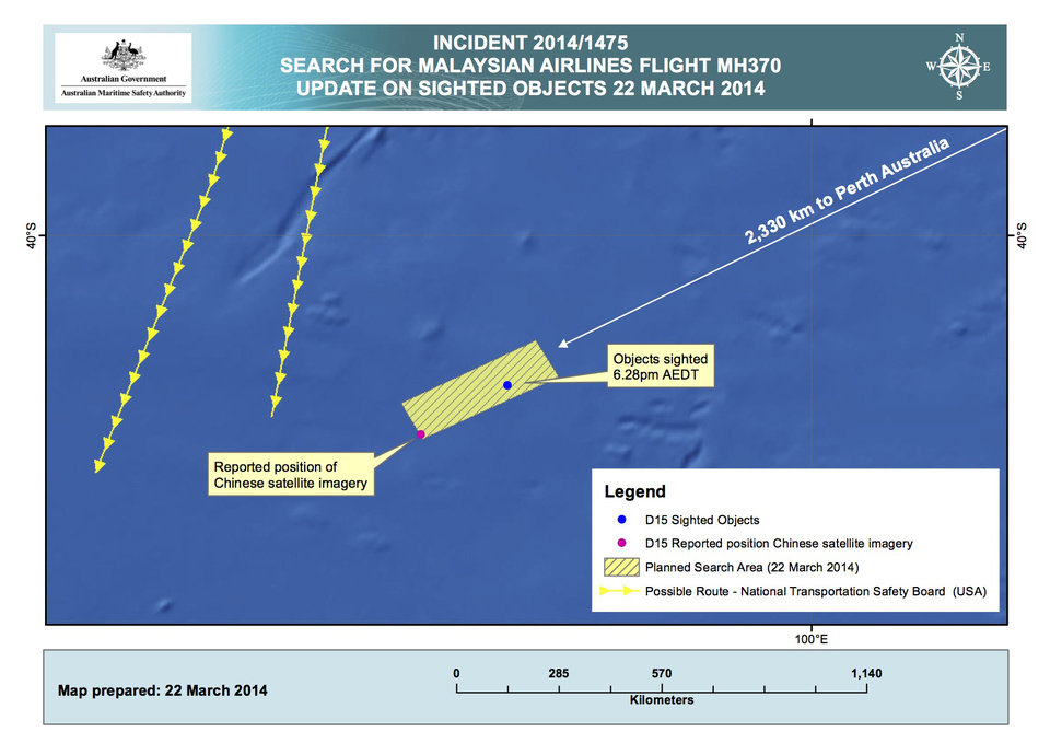 Photo - This Saturday, March 22, 2014 graphic provided by the Australian Maritime Safety Authority (AMSA), shows the approximate position of the objects seen floating in a Chinese satellite image in the southern Indian Ocean that the AMSA is concentrating its search for the missing Malaysia Airlines flight MH370 on. China on Saturday released a satellite image showing an object floating in a remote stretch of the southern Indian Ocean near where planes and ships have been crisscrossing since similar images from an Australian satellite emerged earlier in the week. Two military planes from China arrived Saturday in Perth and were expected on Sunday to join Australian, New Zealand and U.S. aircraft in the search.  (AP Photo/Australian Maritime Safety Authority)