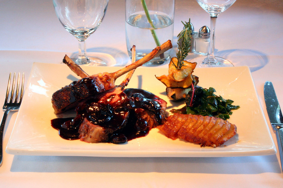 Roasted Rack of Domestic Lamb with Ancho-Cherry Sauce.
