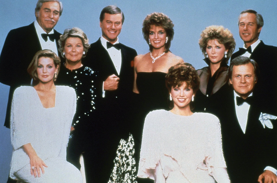 Photo -   FILE - This 1983 file photo shows actor Larry Hagman, center left, with fellow cast members of the television series