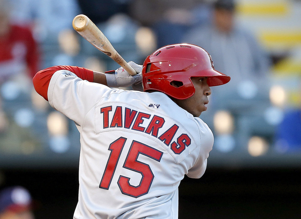 Oscar Taveras of Memphis during the  Oklahoma City RedHawks home opener against the Memphis Redbirds at Chickasaw Bricktown Ballpark in Oklahoma City, Friday, April 12, 2013. Photo by Bryan Terry, The Oklahoman