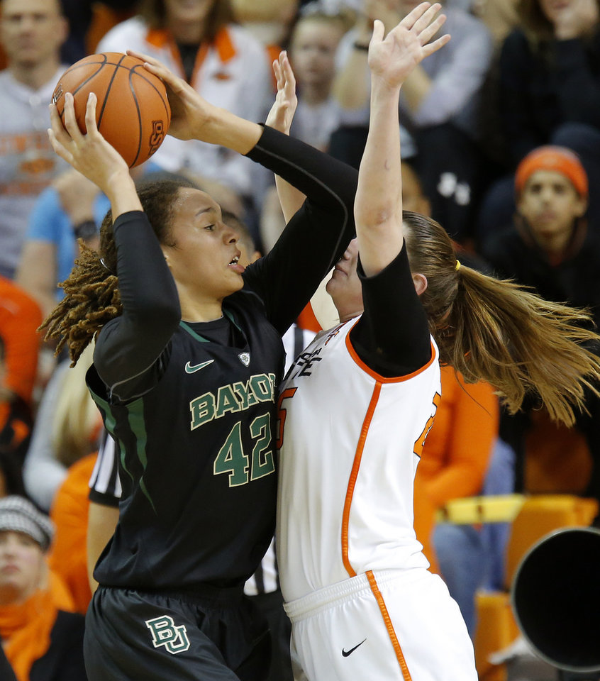 Baylor's Brittney Griner (42) goes to the basket beside Oklahoma State's Lindsey Keller (25) during a women's college basketball game between Oklahoma State University and Baylor at Gallagher-Iba Arena in Stillwater, Okla., Saturday, Feb. 2, 2013. Photo by Bryan Terry, The Oklahoman