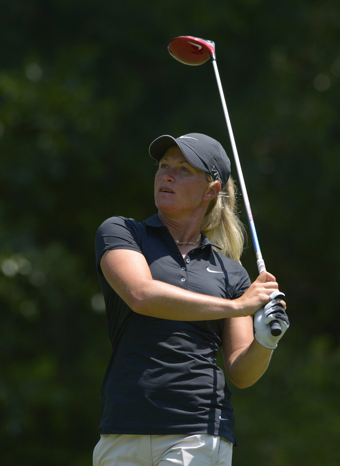 Photo - Suzann Pettersen of Norway watches her the shot on the fifth hole during the second round of the Airbus LPGA Classic golf tournament at Magnolia Grove on Friday, May 23, 2014, in Mobile, Ala. (AP Photo/G.M. Andrews)