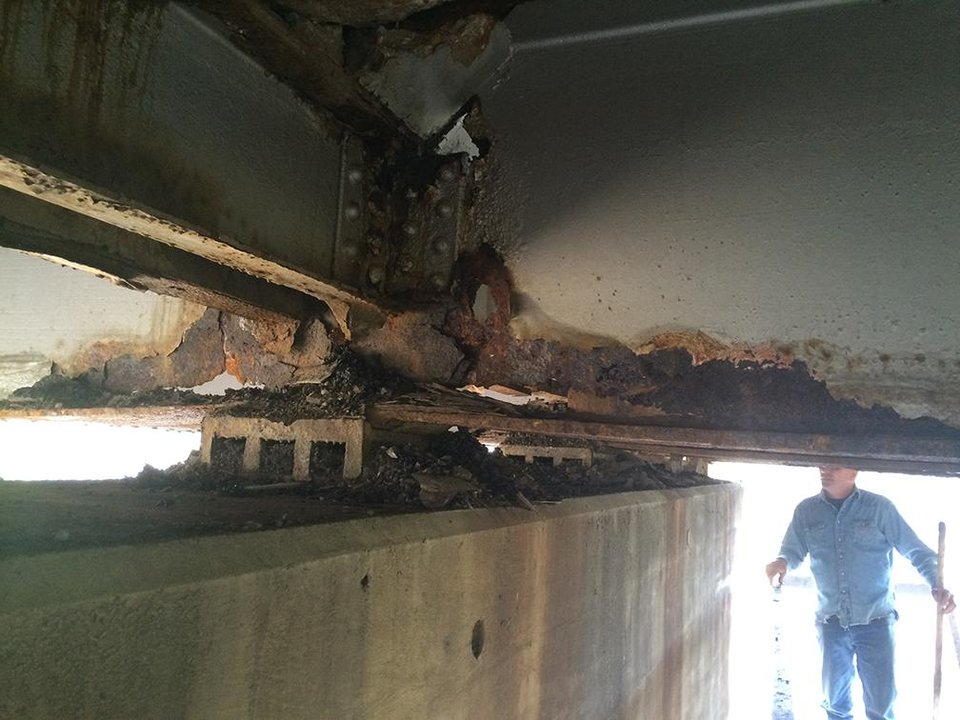 Photo -  A pothole led to the discovery of corrosion, which prompted the closure of a State Highway 83 bridge over the Kansas City Southern rail line in Le Flore County. Repairs are expected to be completed so the bridge can reopen May 1. Photo provided    Photo provided.  -  Photo provided.