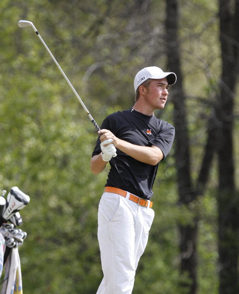 Photo - Norman High School's Turner Howe tees off during Boy's 6A golf championships at the Karsten Creek Golf Course in Stillwater, OK, Tuesday, May 7, 2013,  By Paul Hellstern, The Oklahoman
