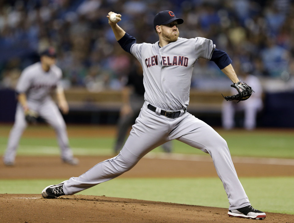 Photo - Cleveland Indians starting pitcher Zach McAllister delivers to Tampa Bay Rays' Ben Zobrist during the first inning of a baseball game Saturday, May 10, 2014, in St. Petersburg, Fla. (AP Photo/Chris O'Meara)