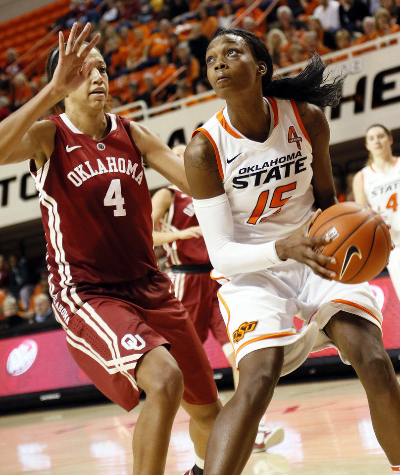 Photo - Oklahoma State's Toni Young (15) looks to get a shot past Oklahoma's Nicole Griffin (4) during the Bedlam women's college basketball game between Oklahoma State University and the University of Oklahoma at Gallagher-Iba Arena in Stillwater, Okla., Saturday, Feb. 23, 2013. OSU beat OU, 83-62. Photo by Nate Billings, The Oklahoman