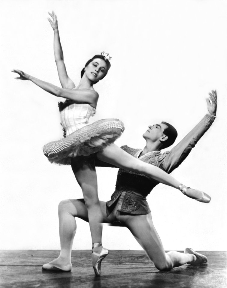 "BALLERINAS: Maria Tallchief, native of Fairfax, Oklahoma, and prima ballerina of the New York City Ballet, with Andre Egevsky as her cavalier, are two of the principal dancers in  ""The Nutcracker"" ballet on CBS Television's ""The Seven Lively Arts,"" Sunday, Dec. 22.  The hour-long Christmastime fairy tale will be danced to the music of Tchaikovsky by a cast of 95, including 55 regular members of the New York City Ballet and 40 children. Stock commercial photo dated 12/13/57; photo appeared in the 12/15/57 Daily Oklahoman."