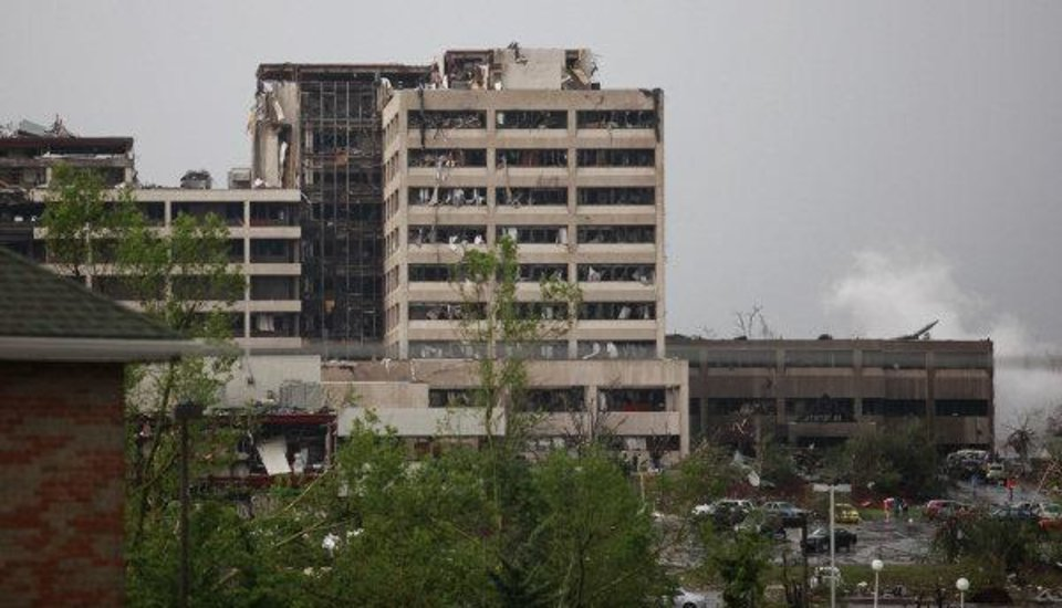 Photo - Damage to St. John's Regional Medical Center in Joplin, Mo. is shown after it was hit by a tornado on Sunday, May 22, 2011. (AP Photo/The Wichita Eagle, Jaime Green) ORG XMIT: KSWIE101