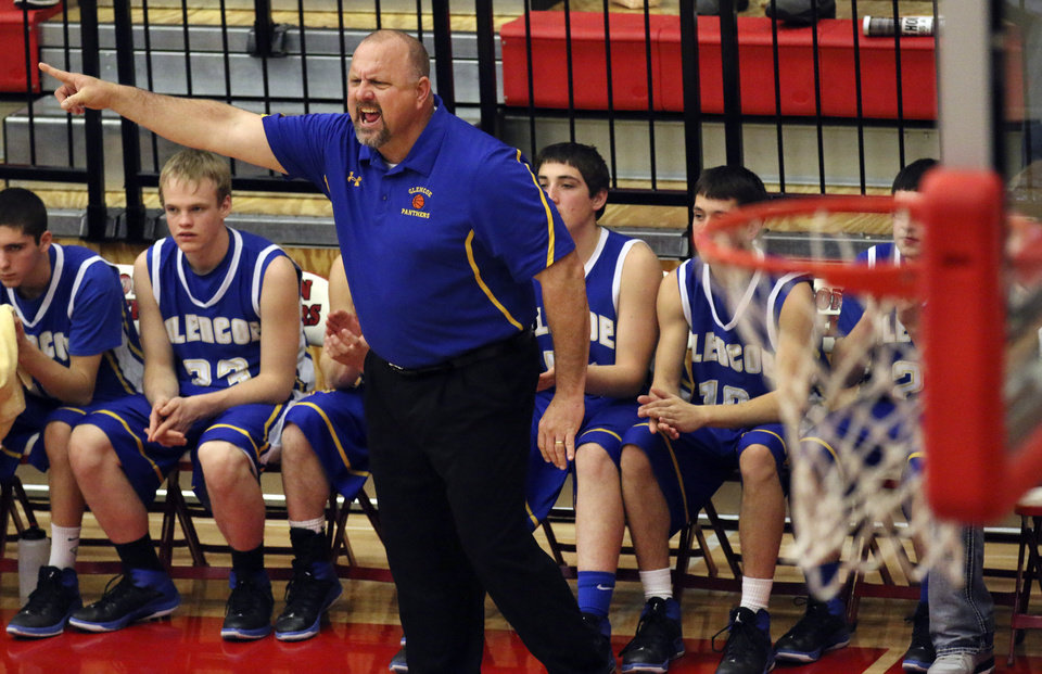 Photo - Glencoe head coach John Lazenby during the last minutes of his Class A Boys quarterfinal victory over Velma-Alma at Yukon High School, Thursday March 6, 2014. Photo By Steve Gooch, The Oklahoman
