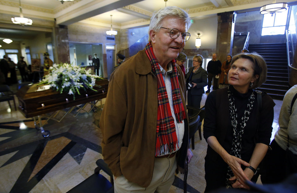 Jim Latting and Cynthia Weimer talk with others as the body of their mother, former Oklahoma City Mayor Patience Latting, lies in repose at city hall on Thursday in Oklahoma City. Photo by Steve Sisney, The Oklahoman
