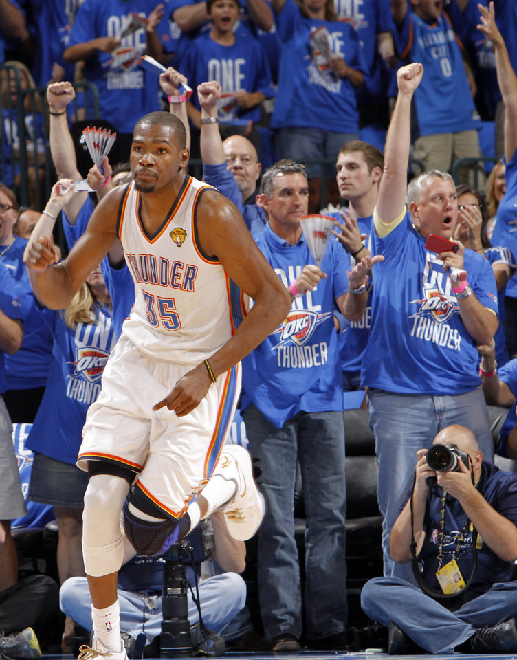 Oklahoma City's Kevin Durant (35) reacts after hitting a three point shot during Game 1 of the NBA Finals between the Oklahoma City Thunder and the Miami Heat at Chesapeake Energy Arena in Oklahoma City, Tuesday, June 12, 2012. Photo by Chris Landsberger, The Oklahoman