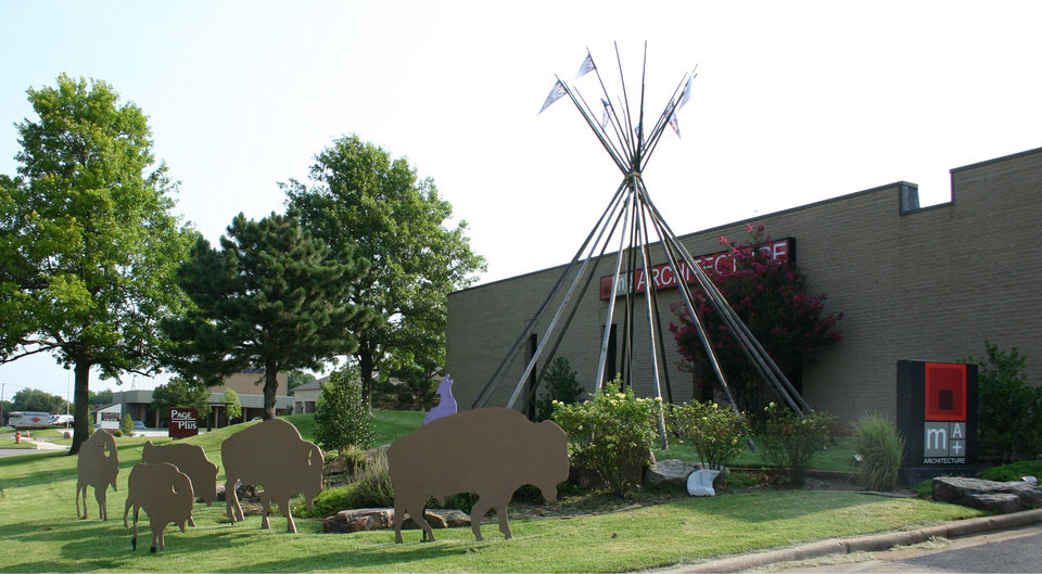 A herd of buffalo cut-outs outside of MA+ Architecture, 4000 N Classen Blvd. in Oklahoma City, are shown sans Thunder gear. The cut-outs were stripped of their Thunder pride by thieves on Sunday, the firm reported. <strong></strong>