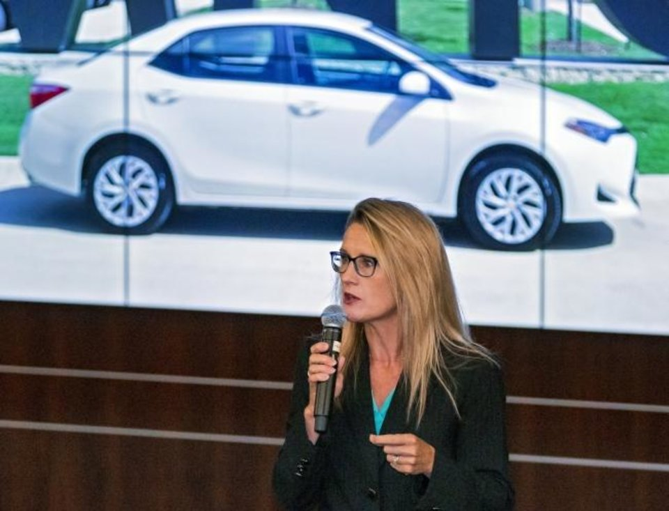 Photo -  CareerTech State Director Marcie Mack speaks Friday about the new Toyota Corolla donated by Gulf States Toyota and Fowler Toyota to the Auto Technology program at Moore Norman Technology Center in Norman. [CHRIS LANDSBERGER/THE OKLAHOMAN]
