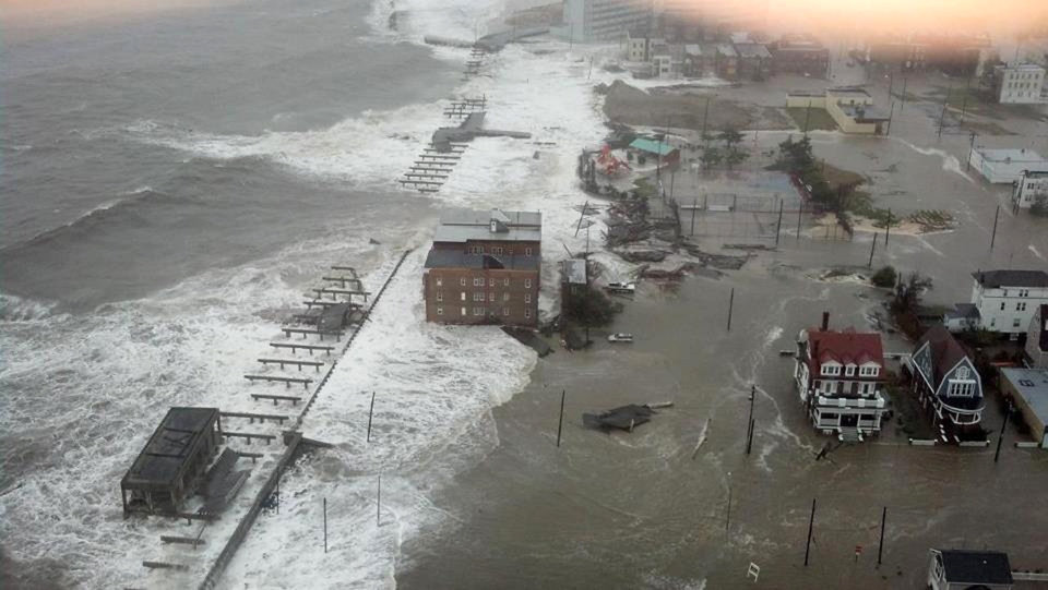 This photo provided by 6abc Action News shows the Inlet section of Atlantic City, N.J., as Hurricane Sandy makes it approach, Monday Oct. 29, 2012. Sandy made landfall at 8 p.m. near Atlantic City, which was already mostly under water and saw a piece of its world-famous Boardwalk washed away earlier in the day. (AP Photo/6abc Action News, Dann Cuellar) ORG XMIT: NY117