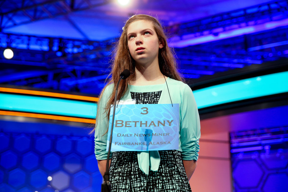 Photo - Bethany Doudna, 14, of Fairbanks, Alaska thinks about her word during the 2015 Scripps National Spelling Bee, Wednesday, May 27, 2015, at National Harbor in Oxon Hill, Md. (AP Photo/Andrew Harnik)