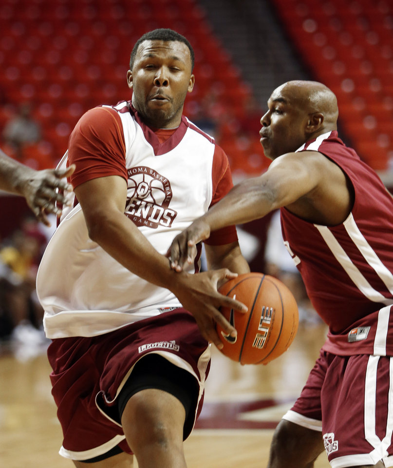 Alumnus Michael Neal drives to the basket during the University of Oklahoma (OU) Legends Alumni basketball game at the Lloyd Noble Arena on Saturday, Aug. 25, 2012, in Norman, Okla.  Photo by Steve Sisney, The Oklahoman