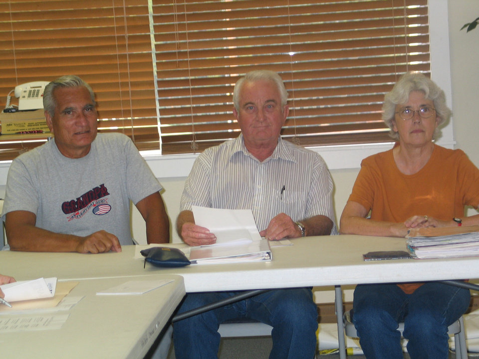 Pictured are Hans Willemse, Team Chairman; Don Erbin, Society Treasurer; Linda Parrish, acting President.  Linda Parrish is presenting the check issued from the Oklahoma Centennial Commemoration project which is funded in part through a grant made possible by the Oklahoma Legislature.<br/><b>Community Photo By:</b> Karen Erbin, Editor for Harrah Historica<br/><b>Submitted By:</b> Karen, Harrah