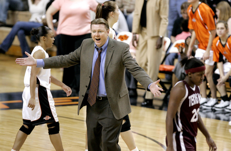 Photo - Oklahoma State University (OSU) head coach Kurt Budke reacts to a call during the first half of Big 12 women's college basketball game against Texas A&M  at Gallagher-Iba Arena in Stillwater, Okla., March 1, 2006.  By Bryan Terry,The Oklahoman