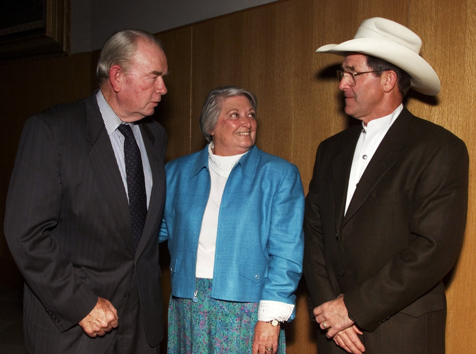 Henry and Shirley Bellmon with Walt Garrison at The 1999 Reba McEntire Pro Celebrity Benefit.