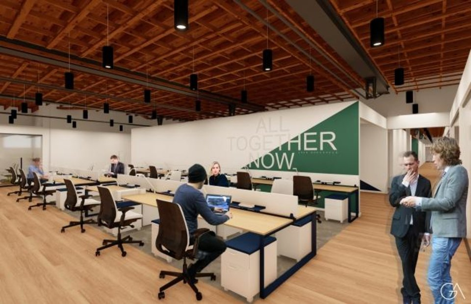 Photo -  Crew Workspace memberships for dedicated desks in an open office set up will start at $350 a month. [RENDERING BY GARNDER ARCHITECTS]