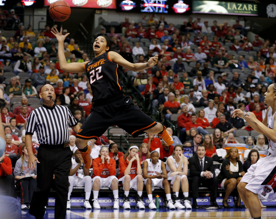 Oklahoma State\'s Brittney Martin (22) tries to save the ball during the Big 12 tournament women\'s college basketball game between Oklahoma State University and Texas Tech University at American Airlines Arena in Dallas, Saturday, March 9, 2012. Photo by Bryan Terry, The Oklahoman