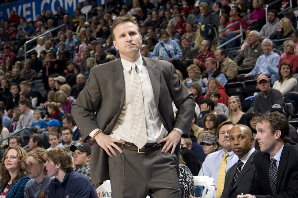 Photo - Oklahoma City head coach Scott Brooks  reacts during the NBA basketball game between the Oklahoma City Thunder and the Los Angeles Clippers at the Ford Center in Oklahoma City, Tuesday, Dec. 16, 2008. PHOTO BY SARAH PHIPPS, THE OKLAHOMAN ORG XMIT: KOD