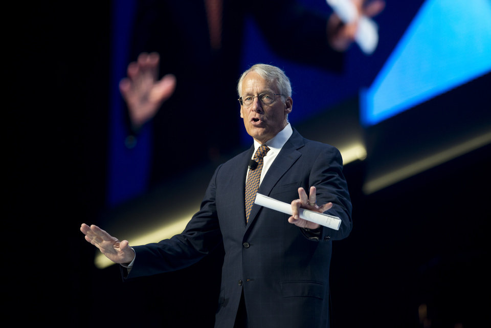 Photo - Rob Walton, Chairman of the Board, speaks at the annual Wal-Mart Shareholders meeting in Fayetteville, Ark., Friday June 6, 2014. (AP Photo/Sarah Bentham)