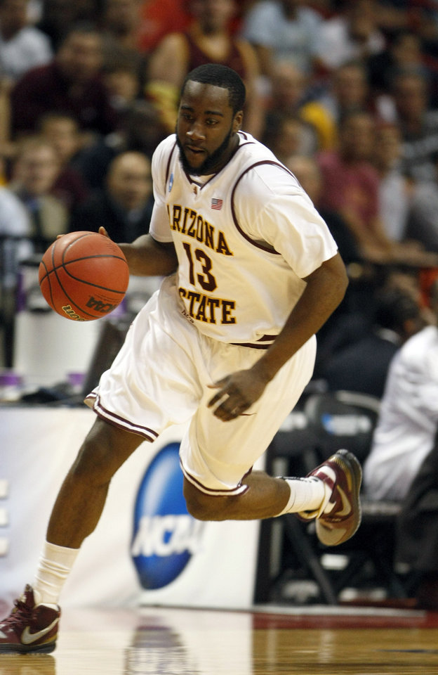 Photo - ** FOR USE AS DESIRED WITH NBA DRAFT STORIES ** FILE - In this March 20, 2009, file photo, Arizona State University's James Harden (13) dribbles the ball during the first-round men's NCAA college basketball tournament game in Miami. Harden is a top prospect in the upcoming NBA Draft. (Photo/Wilfredo Lee, File) ORG XMIT: NY222