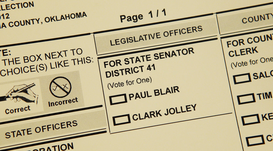 Photo - Senate District 41 candidate names on the Republican ballot at precinct 111 in Oklahoma City Tuesday, June 26, 2012.   Photo by Paul B. Southerland, The Oklahoman