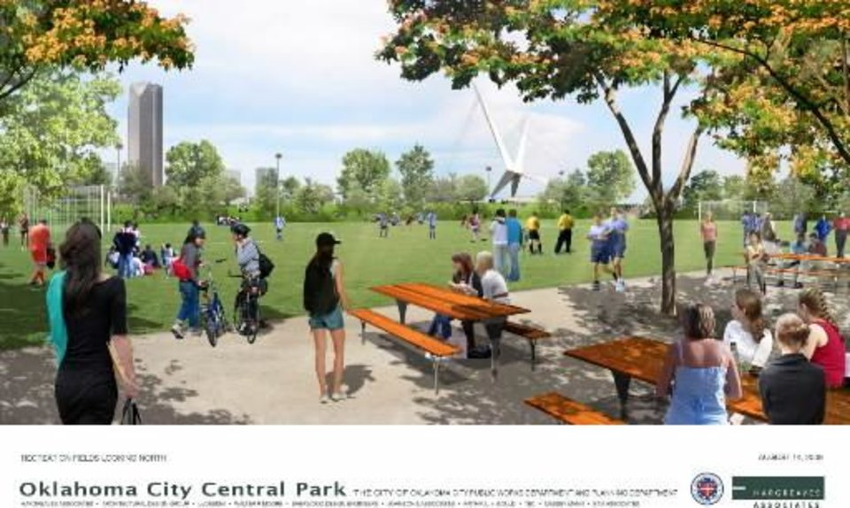 The future Devon tower and Skydance pedestrian bridge over the future Interstate 40 can be seen in the background in this rendering of the proposed central park. RENDERING BY HARGREAVES ASSOCIATES