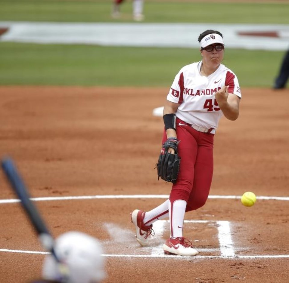 Photo -  Oklahoma pitcher Giselle Juarez remained calm, cool and collected Friday afternoon when Northwestern threatened to score in Game 1 of a Super Regional at Marita Hynes Field in Norman. The Sooners won, 3-0. [Bryan Terry/The Oklahoman]