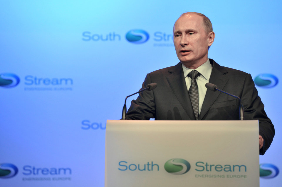 Photo - Russian President Vladimir Putin speaks at a launching ceremony of the construction of South Stream pipeline in the Black Sea resort of Anapa, southern Russia, Friday, Dec. 7, 2012. After years of delays and negotiations, Russian gas company Gazprom on Friday formally started construction of its Europe-bound South Stream pipeline, key to its strategy of eliminating shipping risks by bypassing transit nations like Ukraine. (AP Photo/RIA-Novosti, Alexei Nikolsky, Presidential Press Service)