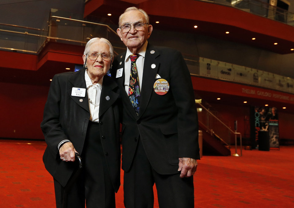 Photo - Edna and Dick Lutz, volunteers at Civic Center Music Hall, recently celebrated their 75th wedding anniversary.  Photo by Nate Billings, The Oklahoman  NATE BILLINGS -  NATE BILLINGS