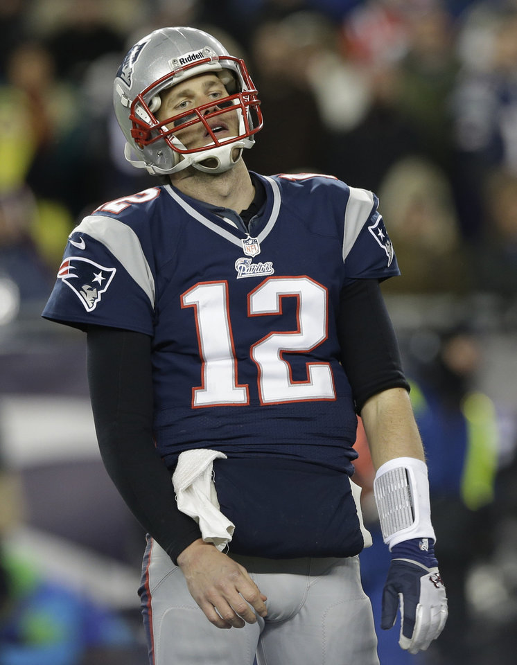 New England Patriots quarterback Tom Brady reacts following an incomplete pass during the second half of the NFL football AFC Championship football game against the Baltimore Ravens in Foxborough, Mass., Sunday, Jan. 20, 2013. (AP Photo/Matt Slocum)