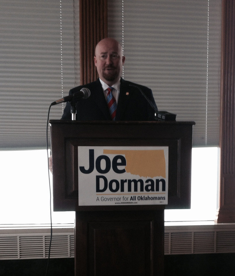 Rep. Joe Dorman, D-Rush Springs, announcing his candidacy in the Oklahoma governor's race, Feb. 4, 2013. PHOTO BY GRAHAM LEE BREWER, THE OKLAHOMAN. <strong></strong>