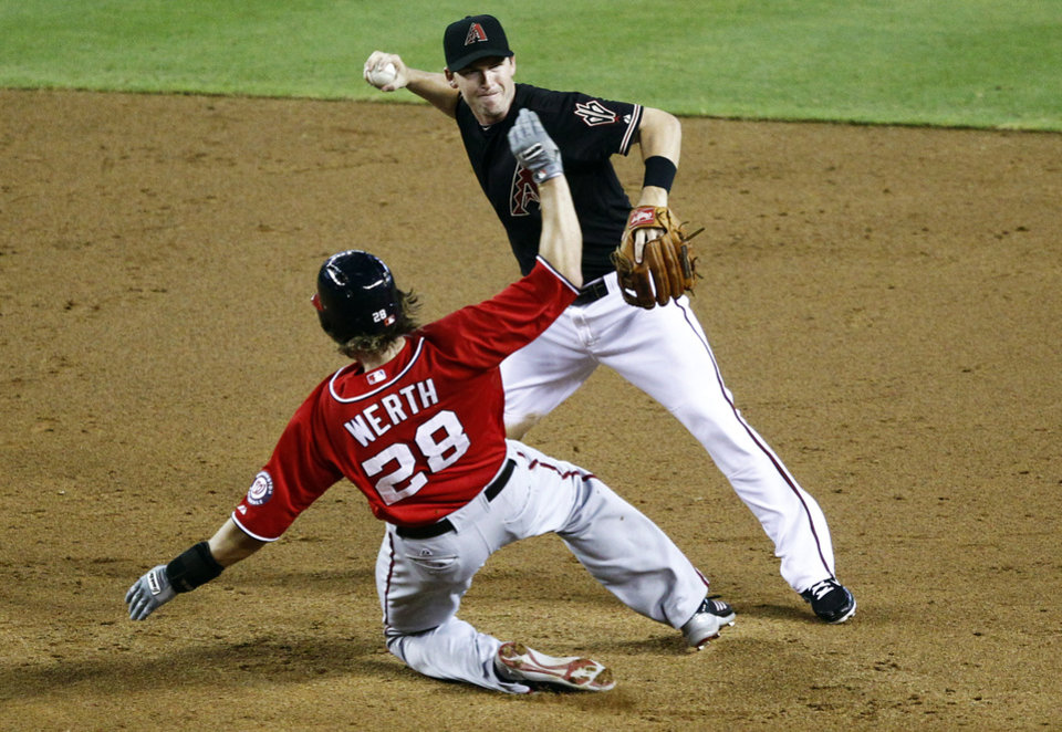 Photo -   CORRECTS SPELLING TO JAYSON, INSTEAD OF JASON - Washington Nationals' Jayson Werth (28) is forced out by Arizona Diamondbacks' Stephen Drew as Drew turns a double play on Ryan Zimmerman during the third inning of a baseball game, Saturday, Aug. 11, 2012, in Phoenix. (AP Photo/Matt York)