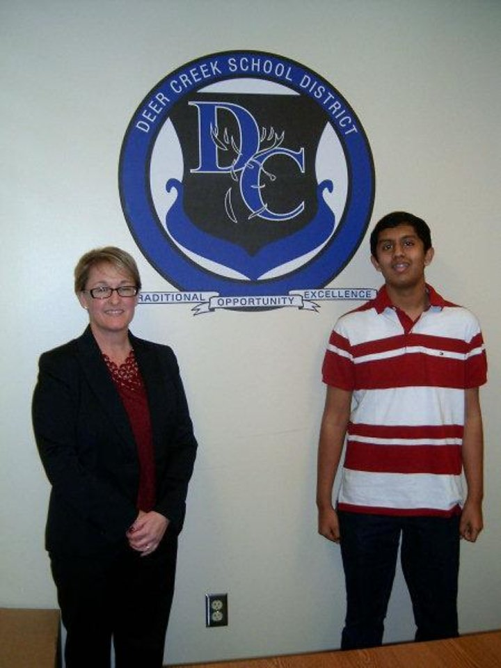 Deer Creek High School Principal Tracy Skinner poses with Soorajnath Boominathan, 14, who recorded a perfect ACT score. PHOTO BY STEVE GUST, FOR THE OKLAHOMAN <strong></strong>