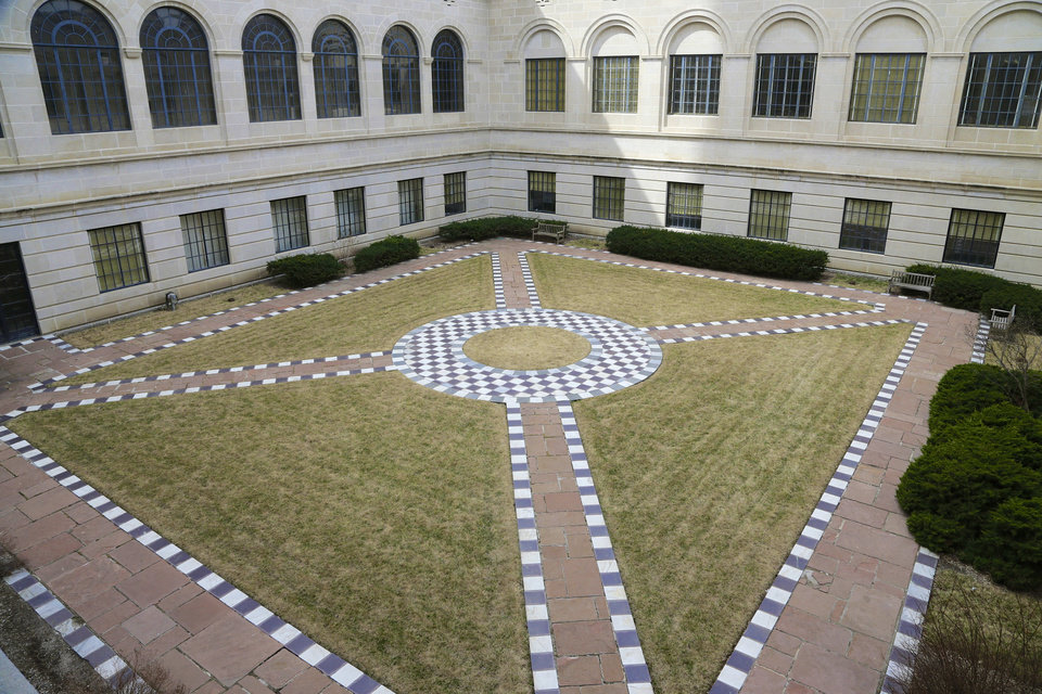 Photo - FILE - This April 1, 2014 file photo shows one of the courtyards at the Nebraska Capitol where fountains are proposed to be built is seen in Lincoln, Neb. The Capitol is one of a number of free things to see and do in Lincoln.   (AP Photo/Nati Harnik, File)