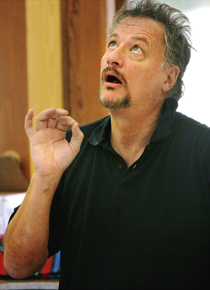 Photo - Actor John de Lancie instructs acting students during the Oklahoma Summer Arts Institute at Quartz Mountain Resort Arts and Conference Center near Lone Wolf. Photo by Ashley McKee, The Oklahoman