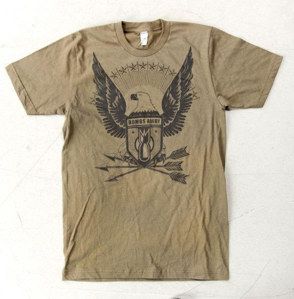 The Patriot is from the Bombs Away line of T-shirts by artist and designer Dustin Oswald. Photo by Chris Landsberger, The Oklahoman. CHRIS LANDSBERGER