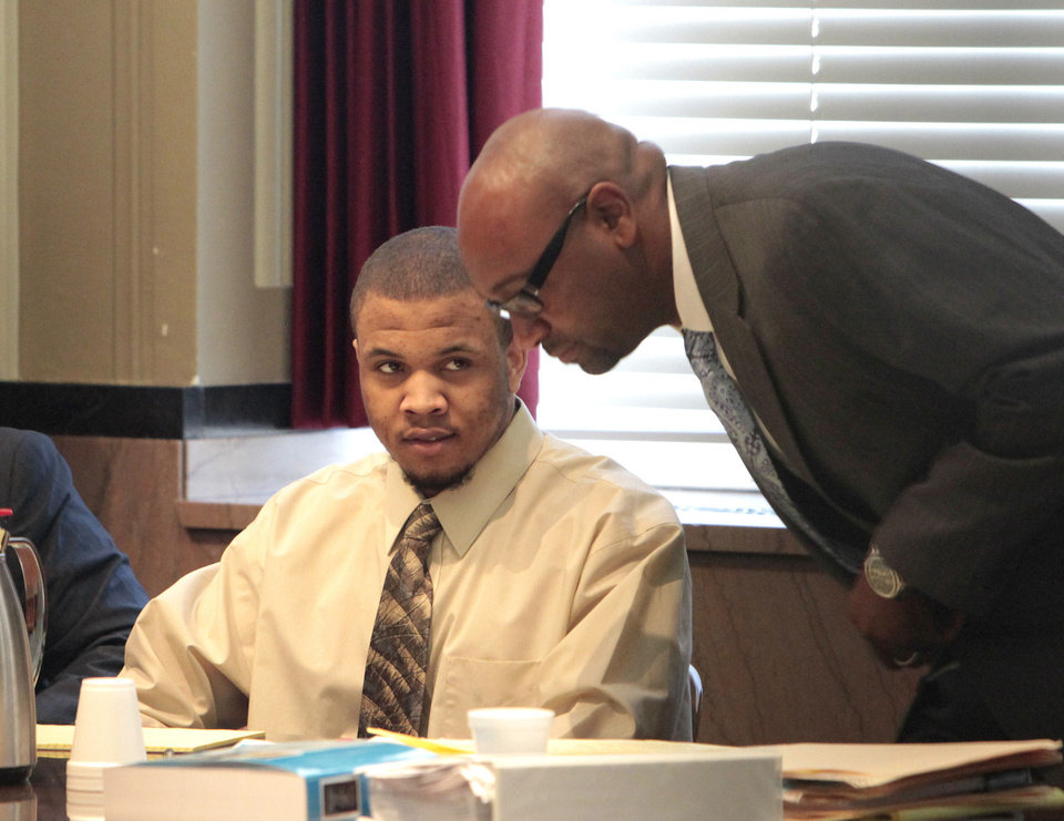 Darrin Paul Burton Jr., left, on Thursday was found guilty of second-degree murder in connection with the shooting of a teenager in 2011.  PHOTO BY DAVID McDANIEL, THE OKLAHOMAN