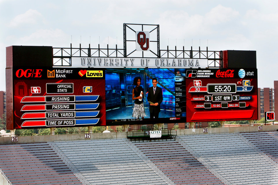 The new south end zone scoreboard is lit during head football coach Bob Stoop's speaks weekly media lunch and press conference at the University of Oklahoma in Norman, Oklahoma on Tuesday August 26, 2008.    BY STEVE SISNEY, THE OKLAHOMAN
