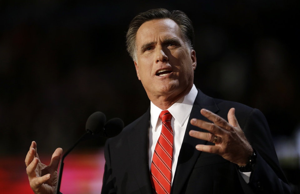 Photo -   Republican presidential nominee Mitt Romney addresses delegates before speaking at the Republican National Convention in Tampa, Fla., on Thursday, Aug. 30, 2012. (AP Photo/David Goldman)