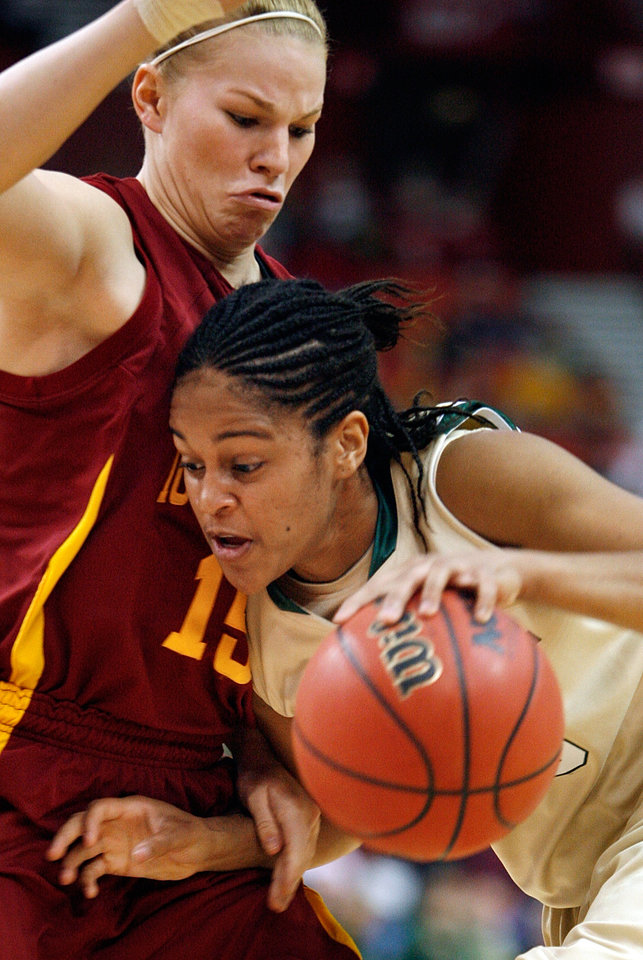 Heather Ezell (left) defends Baylor's Jhasmin Player during the first half of the 2009 Big 12 Women's Basketball Championship game between Baylor University and Iowa State in the Cox Convention Center in Oklahoma City, Oklahoma, on Saturday, March 14, 2009. 