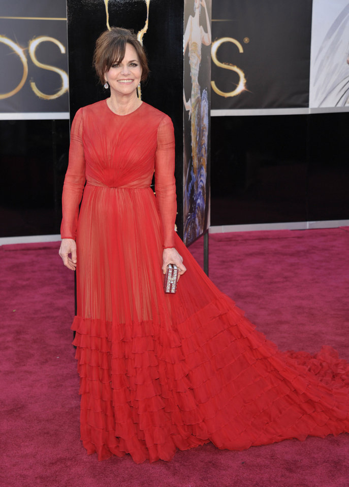Photo - Actress Sally Field arrives at the Oscars at the Dolby Theatre on Sunday Feb. 24, 2013, in Los Angeles. (Photo by John Shearer/Invision/AP)
